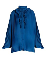 Balenciaga Ruffled Neck Pleated Georgette Blouse Blue