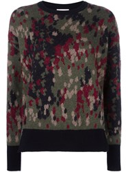 Moncler Patterned Knit Sweater Green