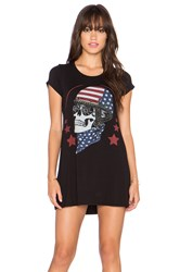 Lauren Moshi Lana Color Skull Helmet Mini Tee Dress Black