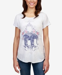 Lucky Brand Floral Elephant Graphic T Shirt Grey Multi