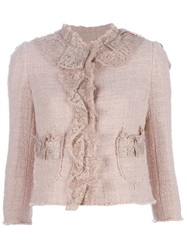 Dolce And Gabbana Ruffle Front Jacket Pink And Purple
