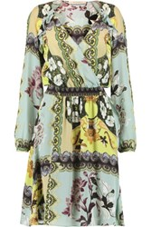 Etro Wrap Effect Printed Silk Chiffon Dress Multi