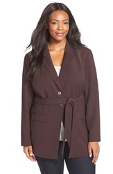 Classiques Entier Belted Jacket Plus Size Burgundy Neo
