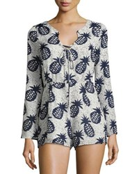 Lucca Couture Long Sleeve Lace Up Romper Multi Pattern