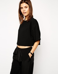Asos Crop Top With Boxy Kimono Sleeve