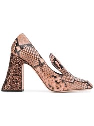 Rochas Snakeskin Effect Heeled Pumps Nude And Neutrals