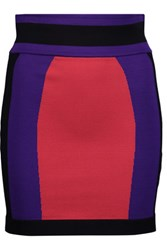 Balmain Color Block Stretch Ponte Mini Skirt Red