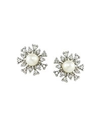 Carolee Pave Cluster Stud Earrings White Silver