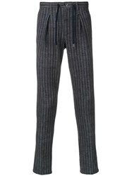 Circolo 1901 Striped Tailored Drawstring Trousers Blue