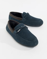 Ted Baker Valcent Moccasin Slippers In Navy Suede Blue