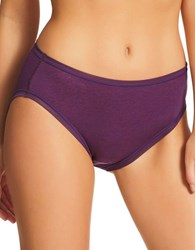 Fine Lines Pure Cotton Hi Cut Brief Panties Deep Purple
