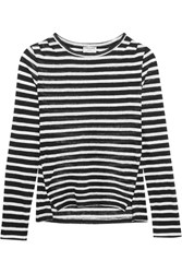 Frame Pintucked Striped Linen Jersey Top Black