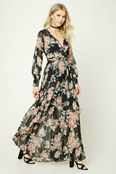 Forever 21 Floral Surplice Maxi Dress Black Blush