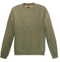 Kapital Oversized Loopback Cotton Jersey And Quilted Shell Sweatshirt Green