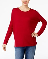 Eileen Fisher Crew Neck Drop Shoulder Sweater China Red