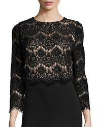 Eliza J Lace Three Quarter Sleeve Cropped Blouse Black