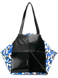 Carmina Campus Floral Colour Block Tote Black