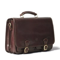Maxwell Scott Bags Luxury Italian Leather Men's Large Satchel Bag Jesolo Dark Chocolate Brown