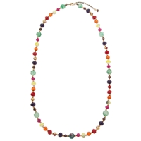 One Button Bright Bead Long Necklace Multi