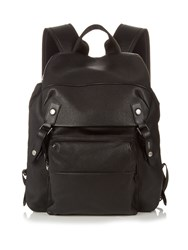 Lanvin Grained Leather And Nylon Backpack Black