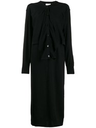 Christophe Lemaire Layered Knitted Midi Dress Black