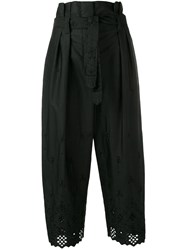 Alberta Ferretti Embroidered Cropped Trousers Black