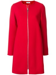 Courreges Zipped Fitted Coat Acetate Cupro Wool Red