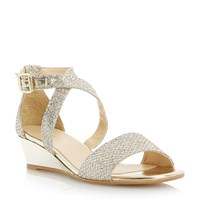 Episode Kadillac Lurex Low Wedge Sandals Gold