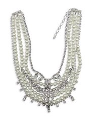 Cristabelle Faux Pearl And Crystal Multi Strand Necklace Silver