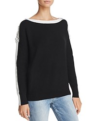 Minnie Rose Lace Up Shoulder Sweater Black White