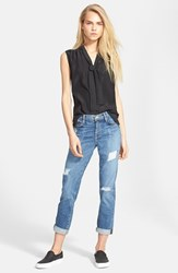 Women's Frame Denim Sleeveless Tie Neck Silk Shirt Noir