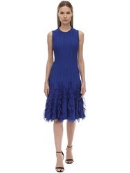Alexander Mcqueen Sleeveless A Line Knit Midi Dress Dark Blue