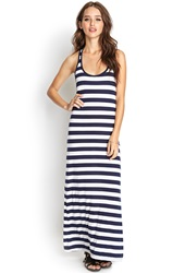 Forever 21 Knotted Stripe Maxi Dress Navy Ivory