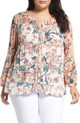 Lucky Brand Plus Size Women's Mixed Floral Print Top