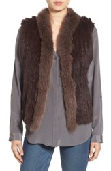La Fiorentina Women's Genuine Rabbit And Fox Fur Vest Brown