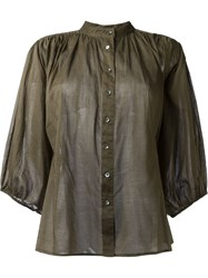 Closed Peasant Shirt Green