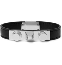 Saint Laurent Aint Leather And Ilver Tone Bracelet Ilver Silver