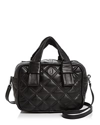 Marc Jacobs Antonia Bauletto Quilted Leather Satchel Black Silver
