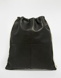 Lyle And Scott Leather Drawstring Backpack Black