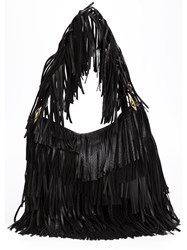 Roberto Cavalli Fringed Shoulder Bag Black