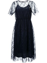 Muveil Lace Brooch Dress Blue