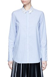 Muveil 3D Flower Embellished Collar Stripe Shirt Blue