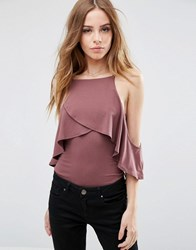 Asos Body With Cold Shoulder Cami Detail Purple