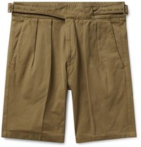 Rubinacci Manny Pleated Cotton Twill Shorts Army Green