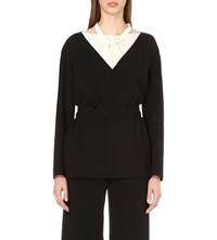 Nina Ricci Wrap Wool Blend Jacket Black