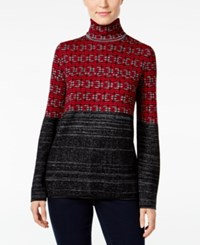 Styleandco. Style Co. Jacquard Turtleneck Sweater Only At Macy's Red Combo
