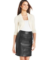Jessica Howard Three Quarter Sleeve Open Front Cardigan Taupe