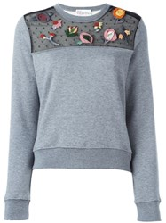 Red Valentino Embroidered Lace Detail Sweatshirt Grey