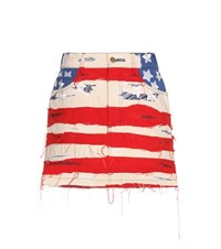 Marc Jacobs American Flag Embroidered Cotton Miniskirt