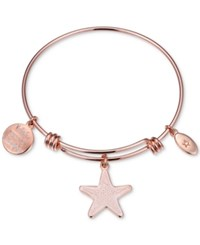 Unwritten Wish Upon A Starfish Enamel Bangle Bracelet In Rose Gold Tone Stainless Steel